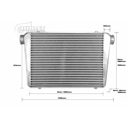 Echangeur Intercooler 600x450x100mm – Ø76mm